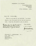 """Autographs:Authors, J.R.R. Tolkien Letter Signed With a Lengthy Holograph Postscript Aprinted form letter signed """"J.R.R. Tolkien"""", 1 page, ..."""