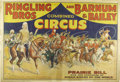 "Western Expansion:Cowboy, A VINTAGE RINGLING BROTHERS AND BARNUM AND BAILEY ""WILD WEST""CIRCUS POSTER- PRAIRIE BILL - . 28"" x 41"". Prairie Bill an..."