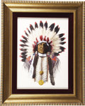 Western:20th Century, KEN OTTINGER (American b. 1945). Portrait of Chief Charging Bear. Mixed media painting. 12 x 15-1/2 inches (30.5 x 39.4...