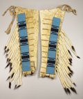 American Indian Art:Beadwork, . A PAIR OF BLACKFEET MAN'S BEADED HIDE LEGGINGS. c. 1875. eachpainted with black horizontal bars and overlaid with a ...