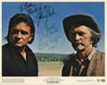 Movie/TV Memorabilia:Autographs and Signed Items, Johnny Cash, Kirk Douglas, and Gregory Peck Signed Photos. Includesa color still from the 1971 Western A Gunfight signe...(Total: 1 Item)