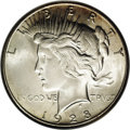 Peace Dollars: , 1928-S $1 MS65 NGC. Well struck with a frosty silver-gray finishthat is little affected by c...