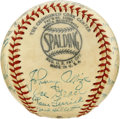 Autographs:Baseballs, Circa 1950s Baseball Old Timers Multi-Signed Baseball. Twenty-fiveformer standouts of 1950s Major League Baseball have che...