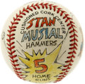 Autographs:Baseballs, Stan Musial Single Signed Baseball with Art from Amadee. Acclaimedcartoonist Amadee has drawn on the surface of the ONL (W...