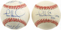 Autographs:Baseballs, Todd Hundley, Lance Johnson and Bernard Gilkey Signed Baseballs Lotof 2. Two-time All-Star Todd Hundley has signed each of...