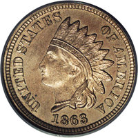 1863 1C One Cent, Judd-300, Pollock-360, 361, 362, R.7, MS65 PCGS. This appears to be only the second time we have offer...