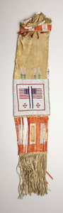 American Indian Art:Beadwork, A SIOUX PICTORIAL BEADED HIDE TOBACCO BAG. . c. 1890. ...