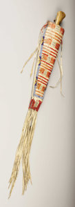 American Indian Art:Beadwork, A SIOUX QUILLED AND BEADED HIDE KNIFE SHEATH. . c. 1870. ...(Total: 2 Pieces)