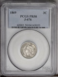 1869 3CN Three Cent Nickel, Judd-676, Pollock-753, R.4, PR50 PCGS. Judd-676 differs in only subtle ways from the contemp...