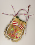 American Indian Art:Beadwork, A SIOUX QUILLED HIDE POUCH. . c. 1900 . ...