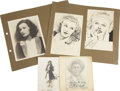 Movie/TV Memorabilia:Autographs and Signed Items, Jean Harlow, Ginger Rogers, and Others Signed Original CelebritySketches. A pair of small vintage pen-and-ink sketches feat...(Total: 1 Item)