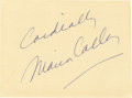 """Movie/TV Memorabilia:Autographs and Signed Items, Maria Callas Signed Card. A 6.5"""" x 5"""" notecard inscribed and signedby Callas in blue ballpoint. In Very Fine to Excellent c... (Total:1 Item)"""