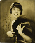 "Movie/TV Memorabilia:Autographs and Signed Items, Geraldine Farrar Signed Photo. A b&w 7.5"" x 9.5"" promo photo ofthe opera singer and film star, inscribed, dated 1924, and s...(Total: 1 Item)"