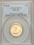 Modern Issues: , 1997-W G$5 Franklin D. Roosevelt Gold Five Dollar MS70 PCGS. PCGS Population (224). NGC Census: (447). Mintage: 11,894. Num...