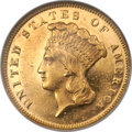 Three Dollar Gold Pieces, 1873 $3 Closed 3 MS62 NGC....