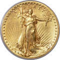 High Relief Double Eagles, 1907 $20 High Relief, Wire Rim MS63 PCGS....