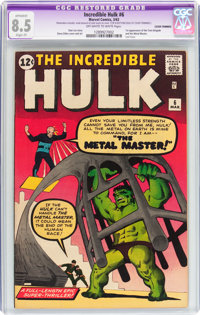 The Incredible Hulk #6 (Marvel, 1963) CGC Apparent VF+ 8.5 Slight (P) Off-white to white pages