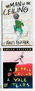 Books:Literature 1900-up, Jules Feiffer. SIGNED. A Barrel of Laughs A Vale of Tears[and:] The Man in the Ceiling. New York: Harper Co...(Total: 2 Items)