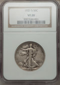 Walking Liberty Half Dollars: , 1921-S 50C VF20 NGC. NGC Census: (83/302). PCGS Population(111/398). Mintage: 548,000. Numismedia Wsl. Price for problem f...