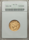 Three Dollar Gold Pieces: , 1856 $3 AU50 ANACS. NGC Census: (43/601). PCGS Population (76/402).Mintage: 26,010. Numismedia Wsl. Price for problem free...