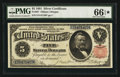 Large Size:Silver Certificates, Fr. 267 $5 1891 Silver Certificate PMG Gem Uncirculated 66 EPQ*.....