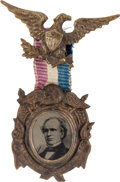 Political:Ferrotypes / Photo Badges (pre-1896), Horatio Seymour: A Fine, Fancy 1868 Ferrotype Campaign Badge. ...