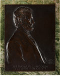 Political:3D & Other Display (1896-present), Abraham Lincoln: Classic Bronze Plaque by Victor D. Brenner,Designer of the Lincoln Penny. ...