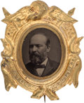 Political:Ferrotypes / Photo Badges (pre-1896), James A. Garfield: A Choice 1880 Ferrotype Campaign Pin....