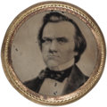 Political:Ferrotypes / Photo Badges (pre-1896), Stephen Douglas: 1860 Ferrotype Shank Button....