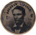 Political:Ferrotypes / Photo Badges (pre-1896), Abraham Lincoln: 1860 Ferrotype Shank Button....