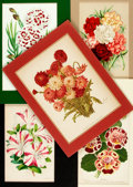 """Books:Natural History Books & Prints, Group of Five Color Lithographs of Flowers. Colorfully matted to various sizes; largest measures 11.5"""" x 14.5"""". Very good. ..."""