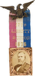 Political:Ribbons & Badges, Rutherford B. Hayes: Choice Large-size 1876 Photo Badge with Great Slogan....