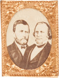 Political:Ferrotypes / Photo Badges (pre-1896), Grant & Wilson: Choice Cardboard Jugate for this ToughTicket....