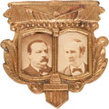 Political:Ferrotypes / Photo Badges (pre-1896), Cleveland & Hendricks: A Most Unusual Frame on This 1884 JugatePin. ...