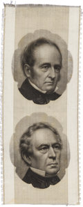 Political:Ribbons & Badges, Bell & Everett: A Classic 1860 Jugate Ribbon with Brady Photos. ...