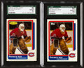 Hockey Cards:Singles (1970-Now), 1986 Topps & O-Pee-Chee Patrick Roy Graded Pair (2). ...