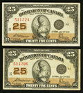 Canadian Currency: , DC-24c 25¢ 1923 Two Examples. ... (Total: 2 notes)