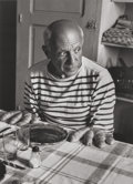 Photographs, ROBERT DOISNEAU (French, 1912-1994). Les Pains de Picasso (Picasso with Bread Hands), 1952. Gelatin silver, printed in 1...