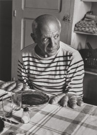 ROBERT DOISNEAU (French, 1912-1994) Les Pains de Picasso (Picasso with Bread Hands), 1952 Gelatin si