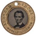 Political:Ferrotypes / Photo Badges (pre-1896), Lincoln & Hamlin: A Classic 1860-dated Ferrotype with theMost-Preferred Lincoln Pose. ...