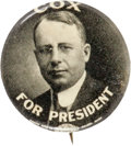 """Political:Pinback Buttons (1896-present), James M. Cox: One of the Nicest 7/8"""" Button Designs for this Defeated 1920 Democratic Candidate...."""