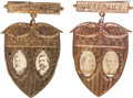 Political:Ferrotypes / Photo Badges (pre-1896), Cleveland & Hendricks and Blaine & Logan: A Matched Pair ofUnusual Jugate Badges. ...