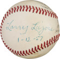 "Autographs:Baseballs, 1956 Napoleon ""Larry"" Lajoie Single Signed Baseball...."