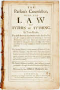 Books:Religion & Theology, Simon Degge. The Parson's Counsellor, with the Law of Tythes and Tything. London: Richard and Edward Atkins, et al, ...