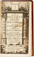 Books:Religion & Theology, [Polyglot Testament]. The New Testament. 1684. French,German and English texts, arranged in a tri-column format. Mi...