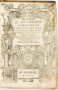 Books:Literature Pre-1900, Lionardo Salviati. Il Granchio Commedia. Florence, 1566.Twelvemo. Vellum. Spine and edges soiled, with library labe...