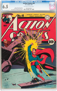 Action Comics #48 (DC, 1942) CGC FN+ 6.5 Off-white to white pages