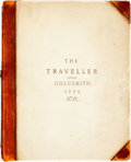 Books:Literature Pre-1900, Oliver Goldsmith. The Traveller; or, A Prospect of Society.London: T. Carnan and F. Newberry, 1770. Sixth edition. ...