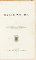 Books:Travels & Voyages, Henry David Thoreau. The Maine Woods. Boston: Ticknor and Fields, 1864. First edition. Publisher's original cloth bi...
