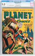 Golden Age (1938-1955):Science Fiction, Planet Comics #27 (Fiction House, 1943) CGC VF/NM 9.0 Off-white towhite pages....